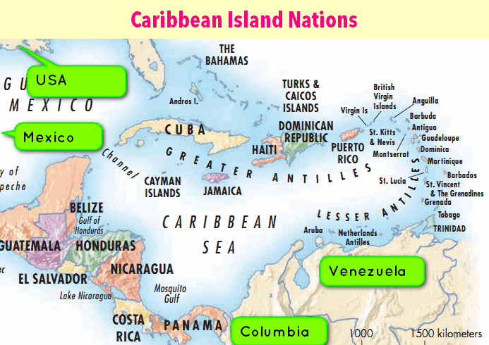 CARICOM Nations map