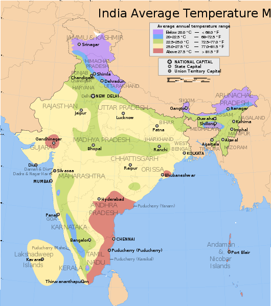 Map India_average_annual_temperature