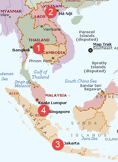 Map CSAT 2014 cities of South East Asia