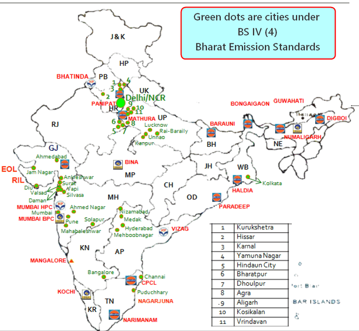 Map Cities & refinaries under Bharat Emission StandardsBharat Emission Standards 4 BS4 BS-IV