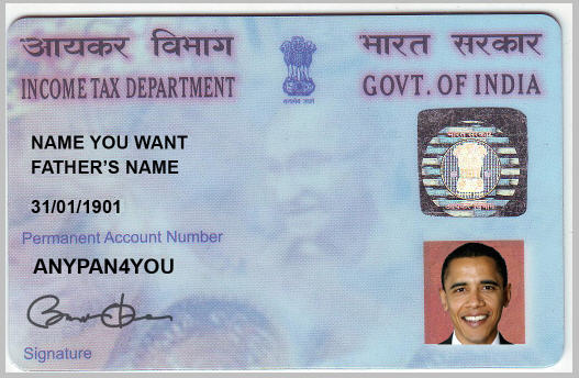 PAN Card Sample with Obama
