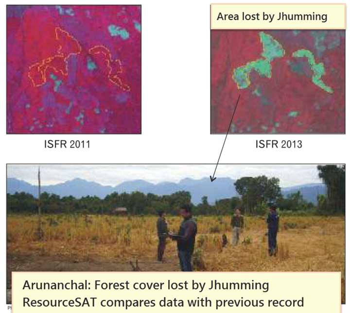 Forest Survey -ResourceSAT area lost in jhumming