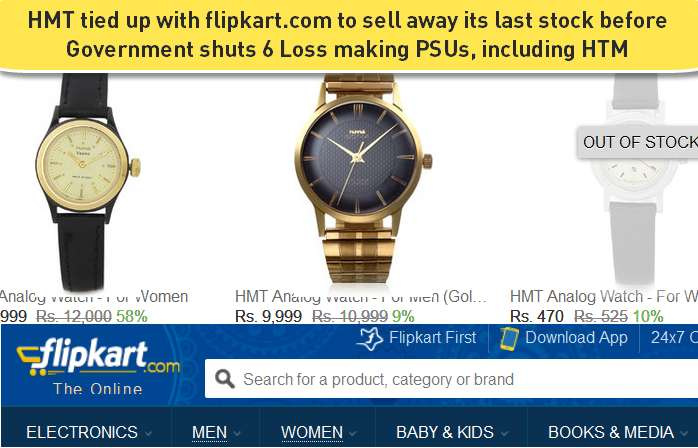 Disinvestment & shutting down HMT watches