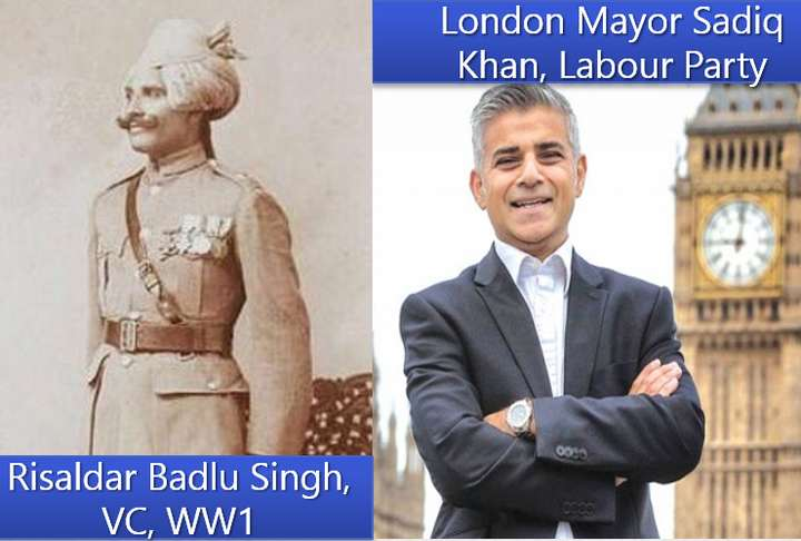 London Muslim Mayor Sadiq Khan and Badlu Singh Victoria Cross