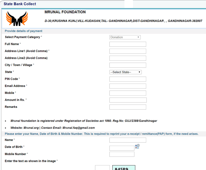 donate to Mrunal Foundation SBI Payment Form