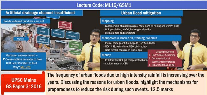 urban floods: not only mock question but model answer was taught as well!