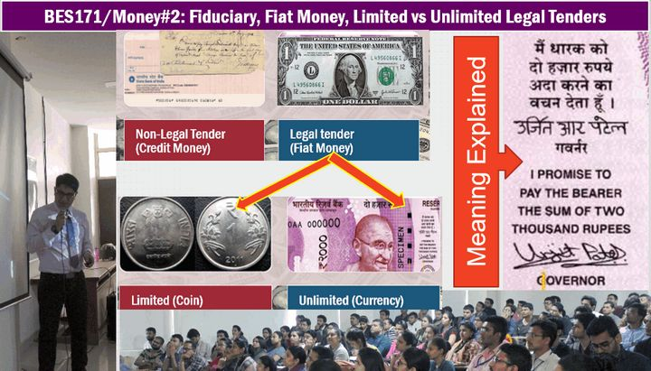 Limited & Unlimited Legal Tenders, Fiat & Fiduciary Money, Gold & Paper standard
