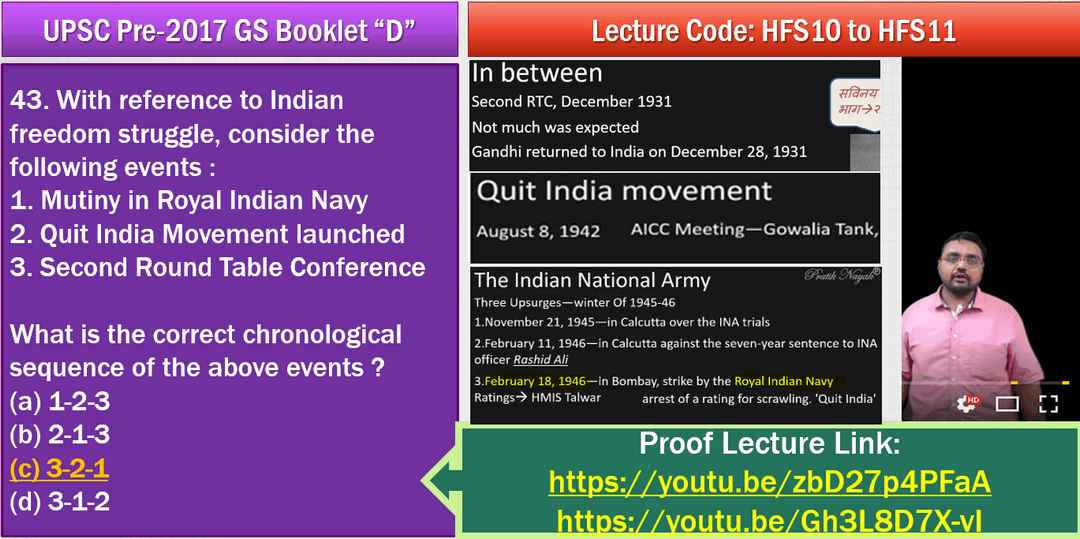 UPSC History Answerkey Quit India Movement