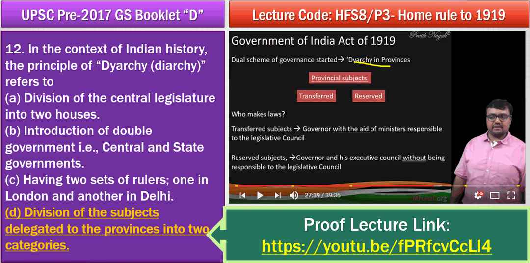 UPSC History Answerkey Dyarchy