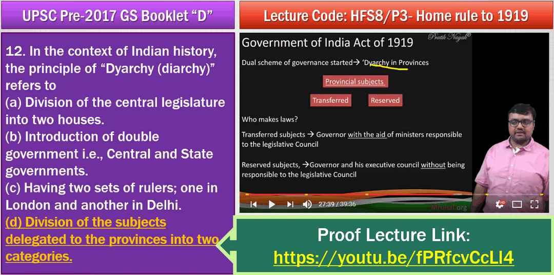 UPSC History Answerkey Dyarchy