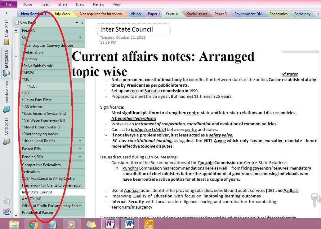 how to make onenote for UPSC