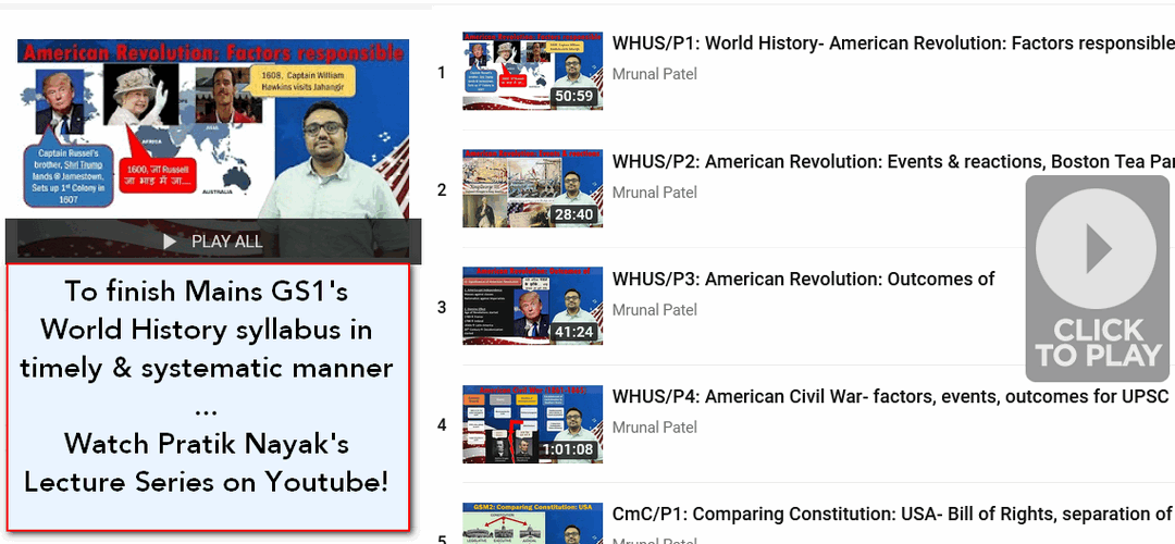 World History lectures for UPSC IAS exam