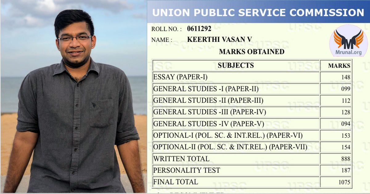 UPSC Rank #29 Keerthi Vasan V- Political Science, 1st Attempt, NIT