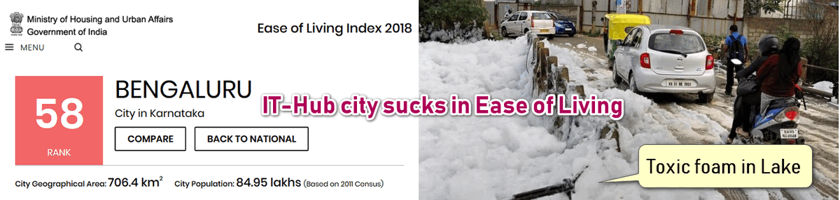 Bengaluru Toxic Foam in the lake and Ease of Living Index