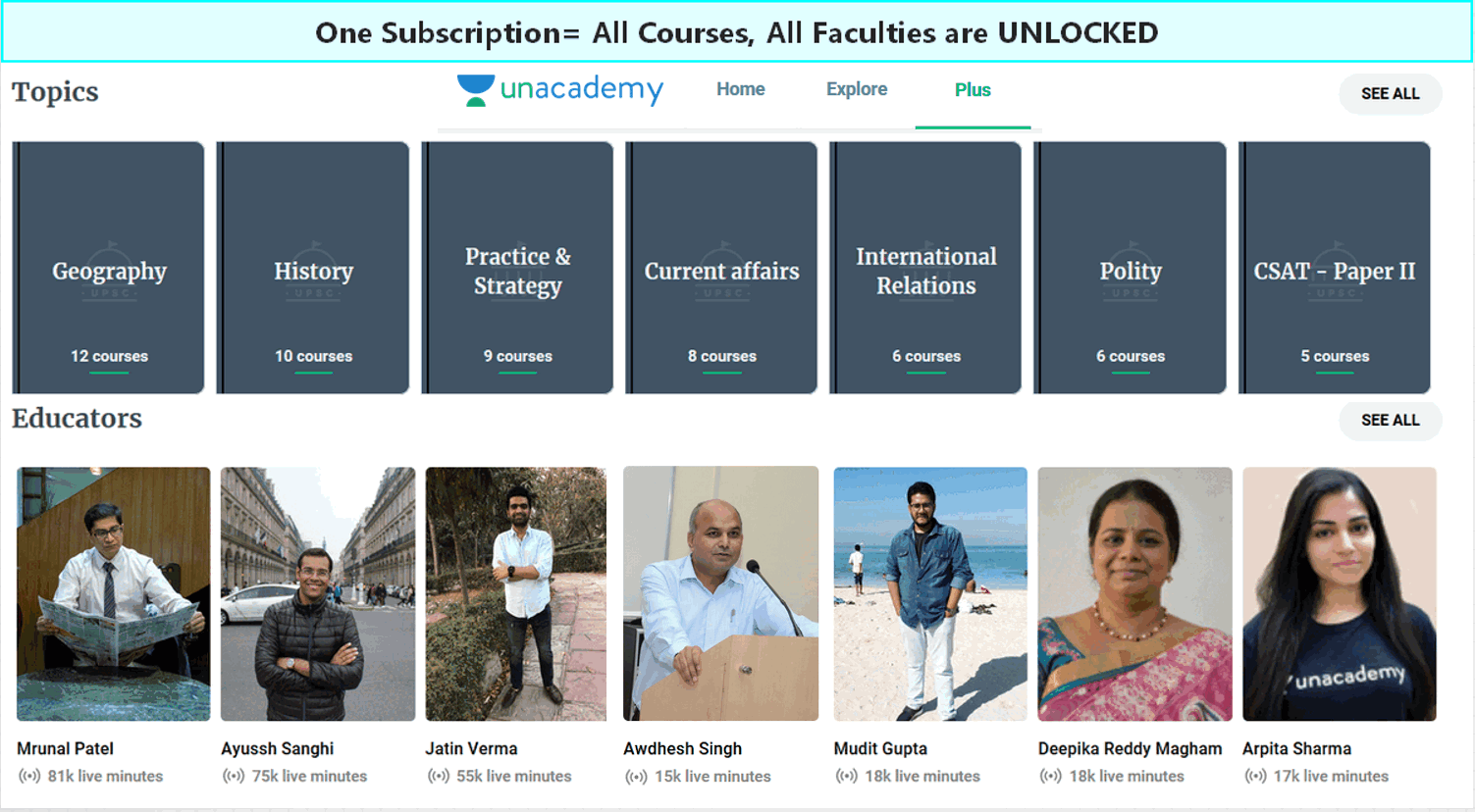 Unacademy Plus Live classes