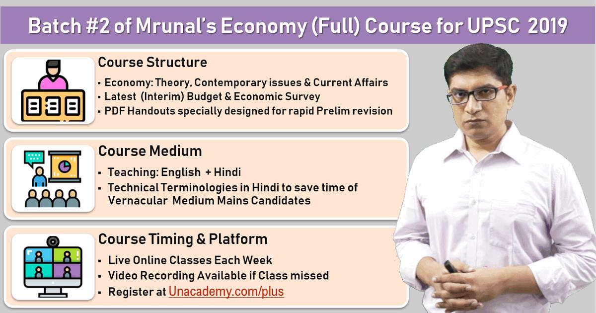 Registration Open] Mrunal's Economy Course UPSC 2019: Online