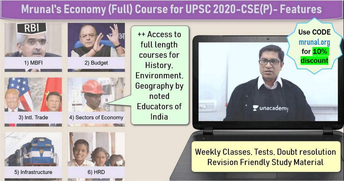 Admission] UPSC Prelims-2020: Mrunal's Economy (Full) Course