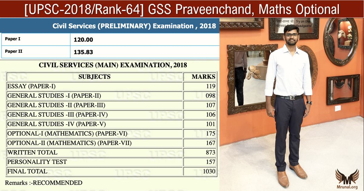 UPSC Topper Praveenchand Maths Optional
