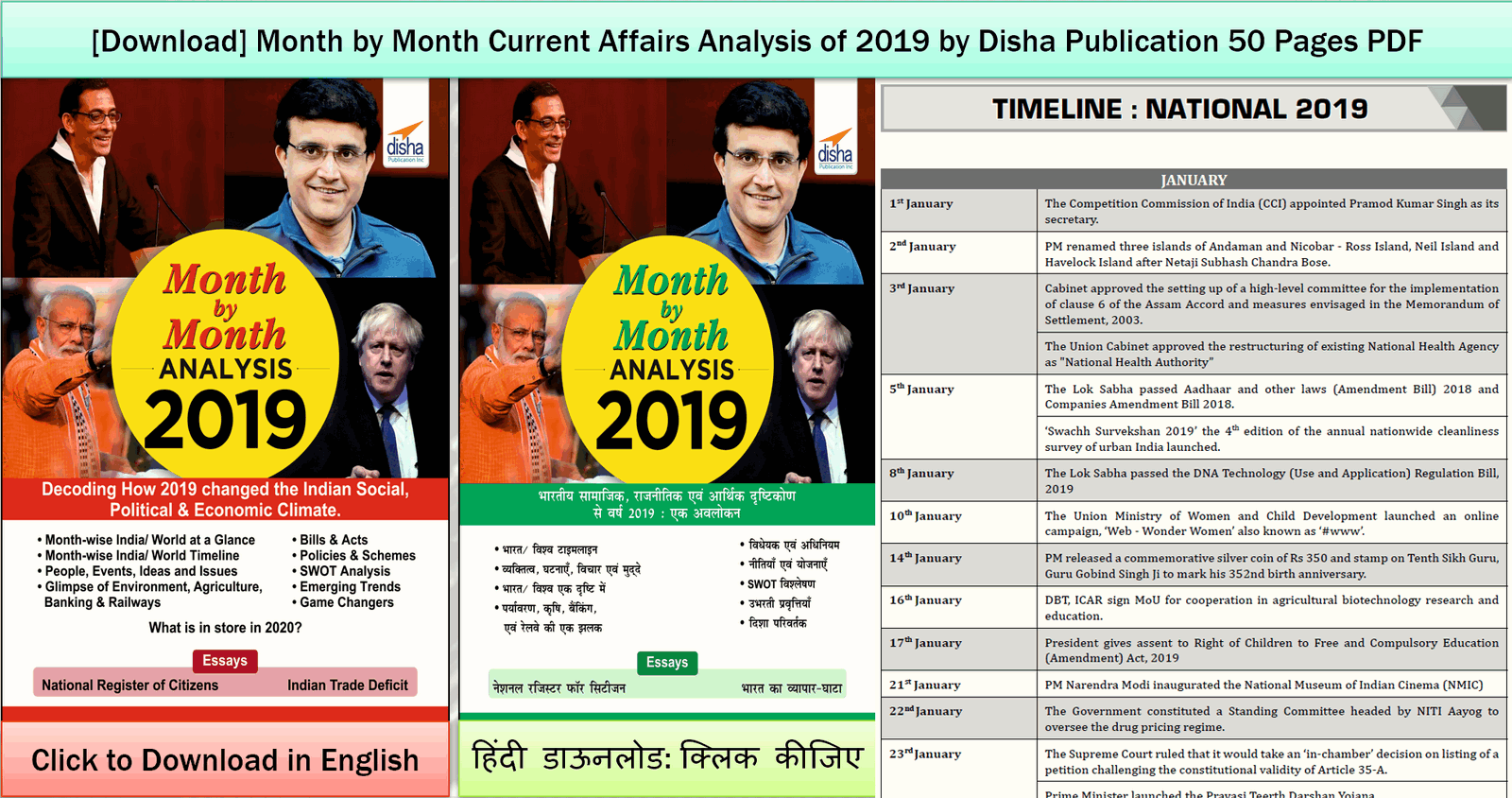 Annual Current Affairs 2019 Compilation for FREE PDF download