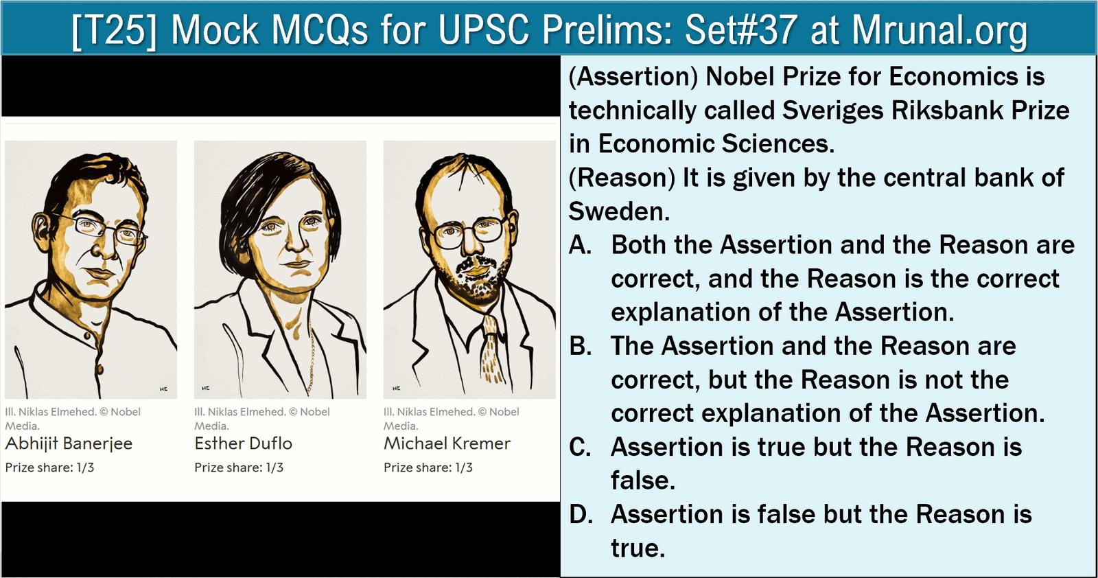 Economy Questions for UPSC Prelims: Nobel in Economics