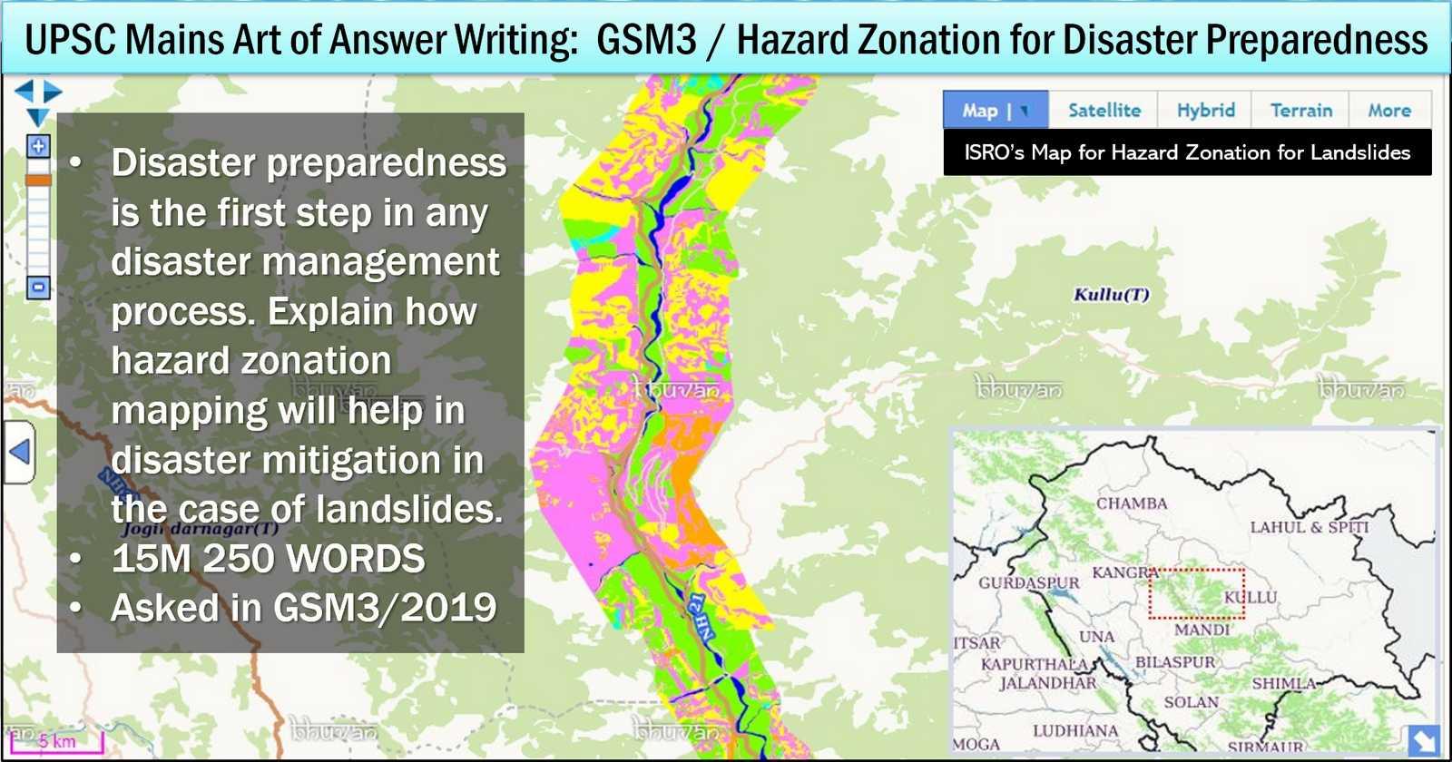UPSC Mains Model Answer Writing Framework for hazard zonation mapping for landslides