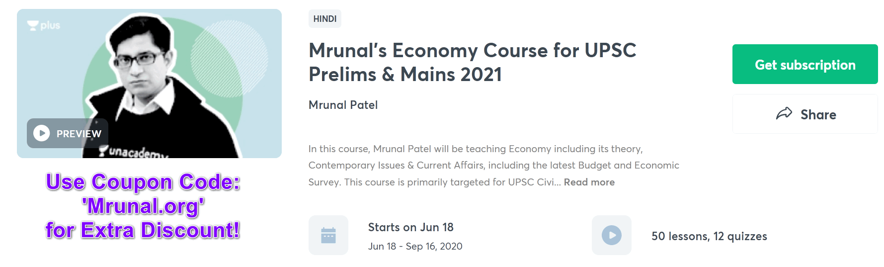 click me to join Mrunal's Full course on Economy @Unacademy Plus for UPSC IAS exam
