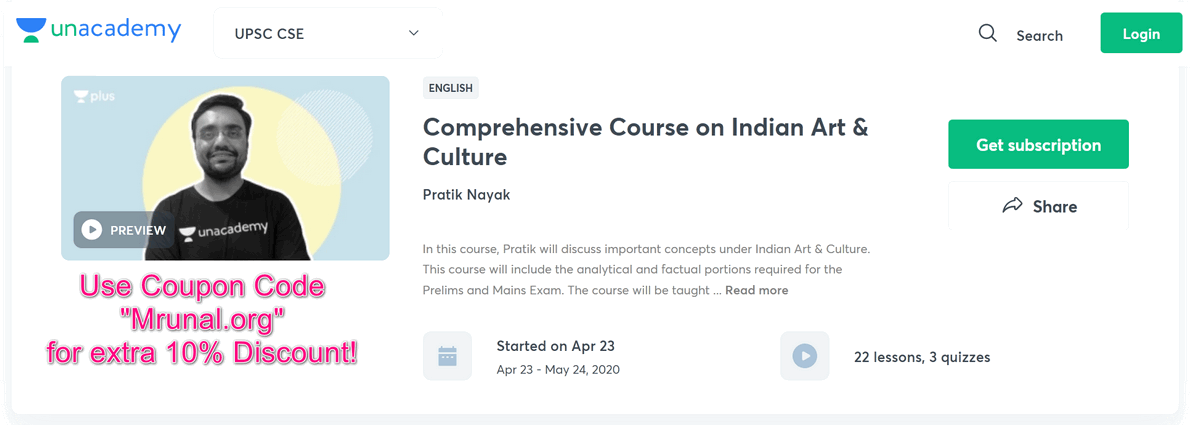 Pratik Nayak's Full course on Art & Culture @Unacademy Plus