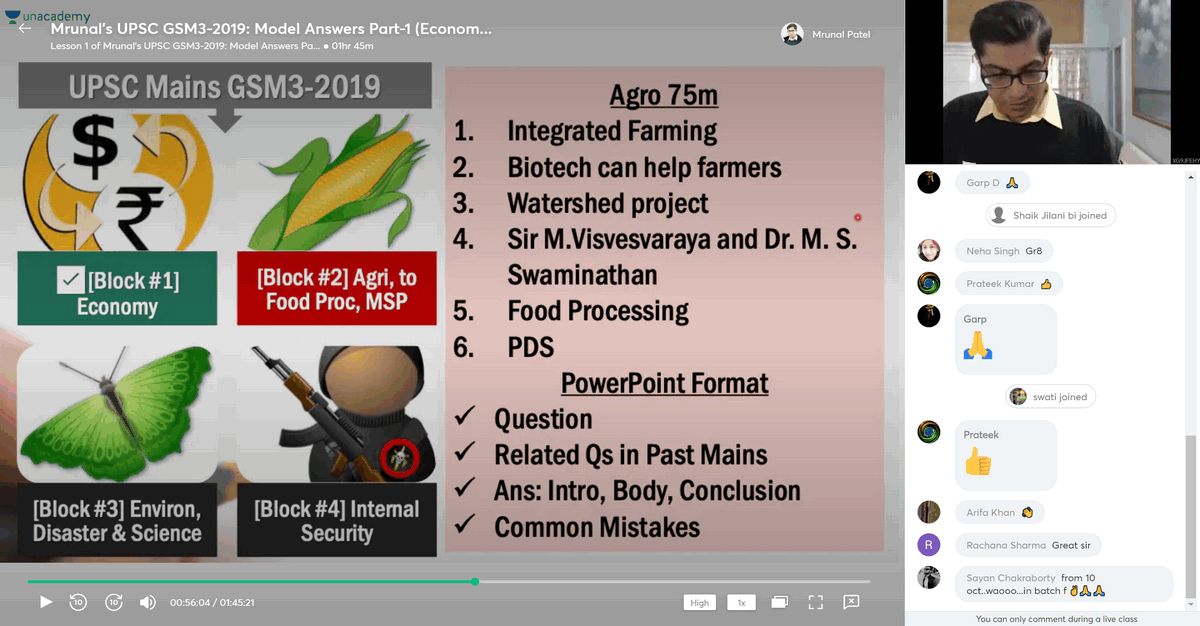Mrunal's Free Lecture on UPSC Mains Answer writing for GS Paper 3 (GSM3) on Agriculture and food processing, MSP-PDS