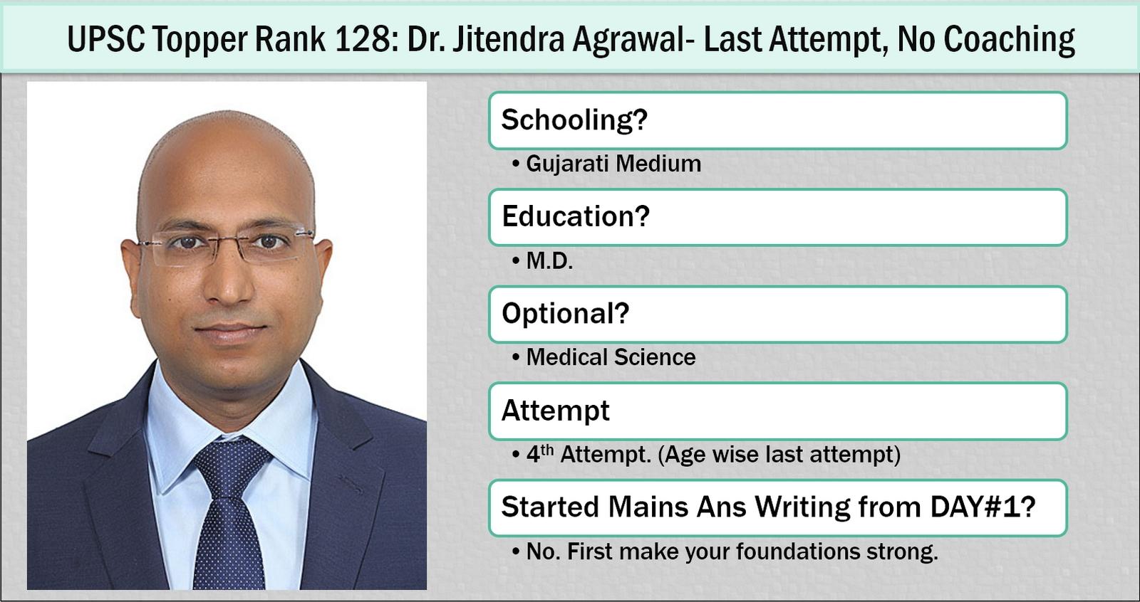 UPSC Rank #128: Dr.Jitendra Agrawal, Last Attempt, Medical Science