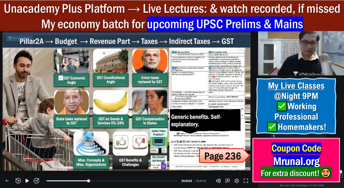 Mrunal's Economy (Full): Live Online Course for UPSC-2021
